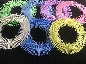 Pack 2 pastel flexi hair combs plastic zigzag teeth flexicomb headband comb