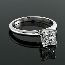 Solitaire 1.46 Carat SI/H Princess Cut Diamond Engagement Ring White Gold