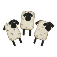 Country Primitive Wooden Sheep Magnets Set of 3