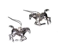 Ornate Design Galloping Horses Earrings Wires Antiqued St