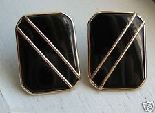 Fabulous 14K Solid Yellow Gold Onyx Earrings 7.3 Grams