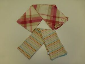 2 Scarves Lot Youth Girls Polka Dot Striped & Old Navy Plaid Good Condition