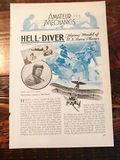 1932 How to Hell Diver Flying Model Airplane US Navy War Plane Hobby