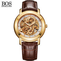 Authorized ANGELA BOS 9007G 3D Carving Gold Skeleton Mechanical Automatic Watch