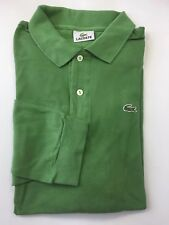 Classic Lacoste Men Long Sleeve Shirt Green Sz 7 100% Cotton