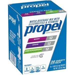 Propel Zero Powdered Drink Mix 36ct Variety Pack Berry Grape Kiwi Strawberry