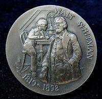 The Walt Whitman (1819-1892) Silver Medal, Gorgeous Deep Engraving 1.1+ Ozt