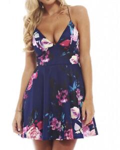 Ax Paris Navy Floral Strappy Skater Dress Size 14 Summer Stylish Cute Celeb Occa