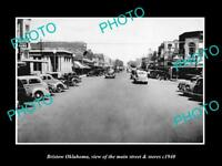 OLD LARGE HISTORIC PHOTO OF BRISTOW OKLAHOMA, THE MAIN STREET & STORES c1940