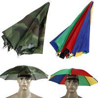 Outdoor Foldable Sun Umbrella Hat Golf Fishing Camping Headwear Cap Head Hat New