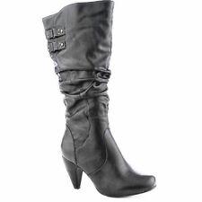 BLACK GENOVA-10 Women Zipper Buckle Knee High Boot Size 8.5