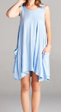 Vanilla Bay Boutique Solid Baby Blue Tank Tunic Dress with Pockets Small S NWT