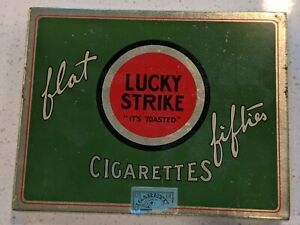 """Vintage LUCKY STRIKE Cigarette Tin Flat Fifties """"It's Toasted"""" Tobacco Box"""