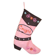 Pink Cowgirl Boot Christmas Stocking