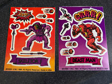2- Vintage 1984 He-man Masters Of The Universe Skeletor And Beast Man Stickers