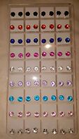 Joblot of 36 Pairs Mixed colour round 6mm Crystal stud Earrings wholesale