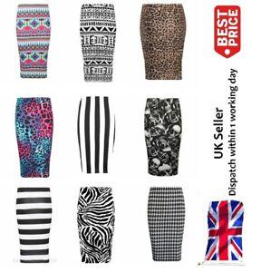 Womens Print Midi Skirt Ladies Sexy Wrap Dress Party Club Wear Small To 3XlL New