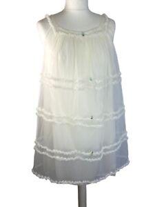 Vtg Double Layer Frill Nylon Prova Nightie Nightdress M 10 12 70s Retro Bbaydoll