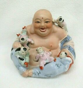 Vtg Laughing Happy Buddha with Children Statue