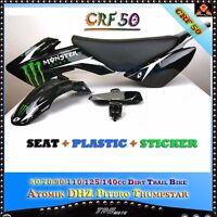BLACK CRF50 PLASTICS + GRAPHICS + SEAT PIT DIRT BIKE 50cc 70cc 90c 110cc 125cc