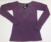 Harley-Davidson Women's Purple Long Sleeve wide neck shirt Medium