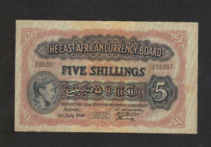 5 SHILLINGS FINE BANKNOTE FROM BRITISH EAST AFRICA 1941 PICK-28 RARE