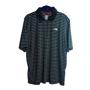 The North Face Outdoor Hiking Vaporwick Stripe Zip Polo Shirt Dark Gray L Large