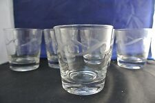 Set of 5 Vintage Clear Glass Small,Whisky  Glasses with Etched Design