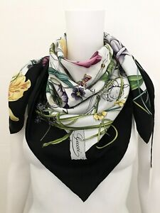 Gucci Ladies Luxury Scarf Silk Flower Print 35 3/8x35 3/8in New