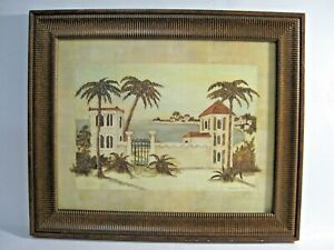 Vintage original Matted and Framed painting signed Paradise by C. Winterle Olson
