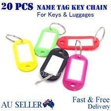 20pcs Mix Colours Plastic Key Ring Tags Name Tag Keyring Keychain Luggage Tags