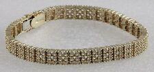 "3-Row Diamond Bracelet 14K Yellow Gold Bracelet 7""  Below Wholesale"