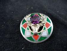 Tartan Kilt Pin Elk Amethyst Geometric Enameled Sterling Silver Celtic Scottish