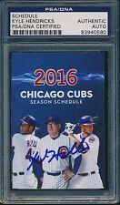 Kyle Hendricks Signed 2016 Chicago Cubs Pocket Schedule PSA/DNA #0580 MLB COA