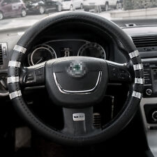 """PU Car Auto Truck Steering Wheel Cover Black Vehicle Protection 15"""" Universal"""