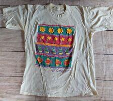 VINTAGE 70s / 80s CANCUN PUFF PAINT TOURIST T-SHIRT MEXICO MIRO LARGE