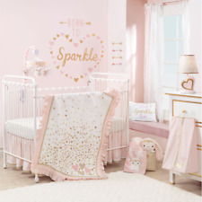 Lambs & Ivy Confetti Heart 4 Piece Crib Bedding Set Pink/Gold Nursery Sets Baby