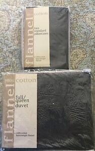 NEW  B B & Beyond COTTON FLANNEL Queen DUVET COVER & Standard PILLOW CASES- GRAY