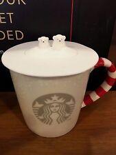 Starbucks Christmas 2016 Polar Bear Lid with Candy Cane Handle Mug 12oz