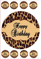 LEOPARD PRINT  BIRTHDAY EDIBLE CAKE CUPCAKE TOPPER/DECORATION WAFER PAPER/ICING