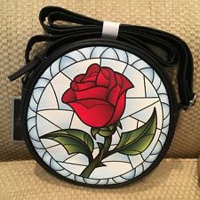 NWT DISNEY LOUNGEFLY BEAUTY AND THE BEAST CROSSBODY PURSE ROSE �� SOLD OUT HTF