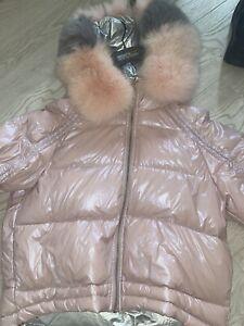 Pink Puffer Jacket Fur Hood (Real Fur)