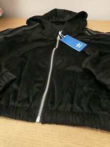 Adidas Comfy Cord Hooded Crop Full Zip Top.Ladies Size 4 Black. New Ref SC4