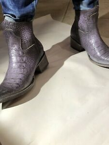 FREEBIRD BY STEVEN SANTIAGO PURPLE CROCO LEATHER BOOTIES SZ 7 NIB W/O HARENESS