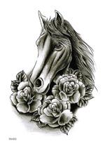 Horse and Rose Flower Waterproof Temporary Tattoo Sticker *UK SELLER* /-m376-/