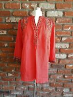 JOHNNY WAS ~ 3J WORKSHOP ~ JWLA ~ Coral Embroidered Tunic Top ( Oversized S )