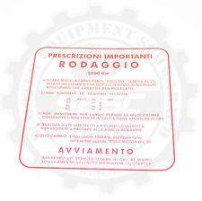 Vespa Einfahrvorschrift RODAGGIO 2% italienisch zum kleben VBB VNB VBA 4 Gang