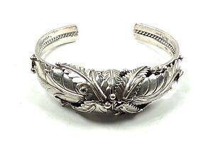 "Ramona Loloma Hopi Ornate Sterling Silver Squash Blossom Cuff Bracelet, 5.25"""