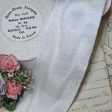 "1y Vtg 2"" French White Cotton Rayon Moire Petersham Grosgrain Ribbon Hat Trim"