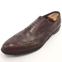ALLEN EDMONDS Chester Solid Brown Medallion Wingtip Oxford Lace Shoes 15B USA